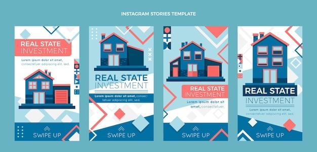 Flache abstrakte geometrische immobilien-ig-geschichten