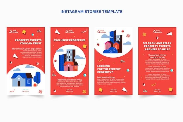 Flache abstrakte geometrische immobilien-instagram-geschichten