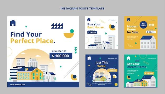 Flache abstrakte geometrische immobilien-instagram-post