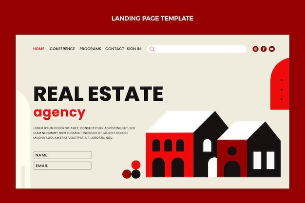 Flache abstrakte geometrische immobilien-landingpage