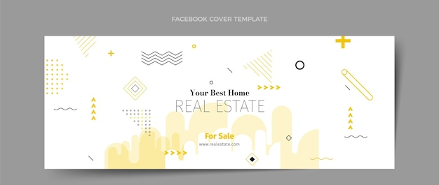 Flache abstrakte geometrische immobilien-social-media-abdeckungsvorlage