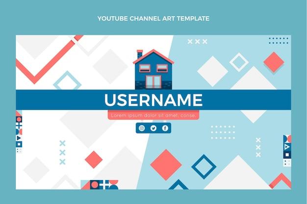 Flache abstrakte geometrische immobilien-youtube-kanalkunst