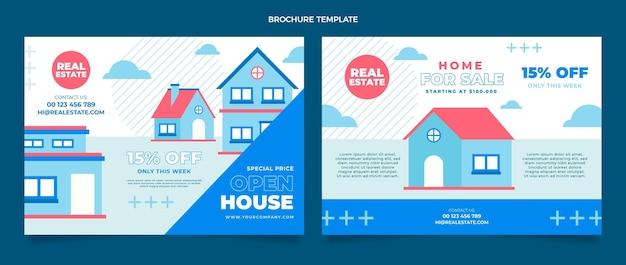 Flache abstrakte geometrische immobilienbroschürenschablone
