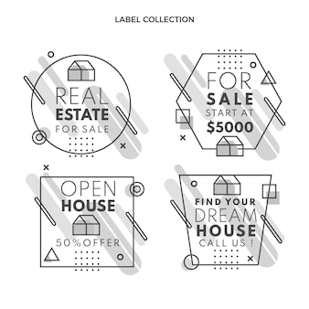 Flache abstrakte geometrische immobilienetiketten