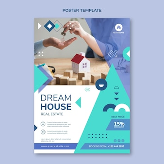 Flache abstrakte geometrische vertikale plakatschablone für immobilien