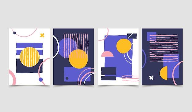 Flache abstrakte kunst-cover-sammlung Kostenlosen Vektoren