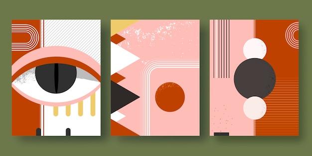 Flache abstrakte kunst deckt sammlung