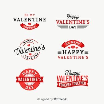 Flache abzeichen-sammlung des valentinstags