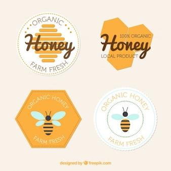 Flache abzeichen von honig
