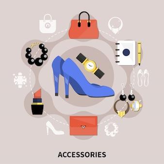 Flache accessoires-kollektion