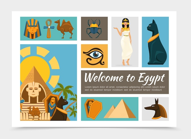 Flache ägypten elemente gesetzt mit pharao und anubis gott masken kamel ankh kreuz skarabäus käfer ägyptische katze prinzessin pyramiden sphinx horus auge illustration,