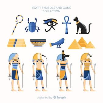 Flache ägyptische symbole und götter sammlung