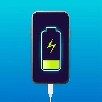 Flache akkuladung für das design von mobilgeräten.