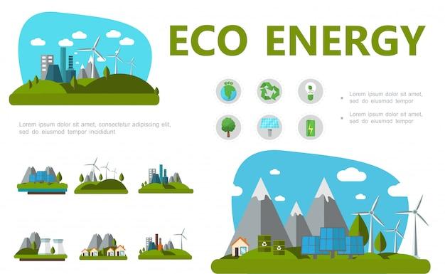 Flache alternative energiezusammensetzung mit planetenrecyclingzeichen birnenbaum-sonnenkollektoren batterie windmühlen öko-fabrik und häuser