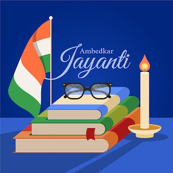 Flache ambedkar jayanti illustration