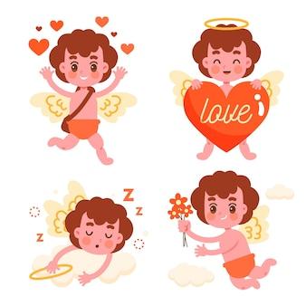 Flache amor-charaktersammlung