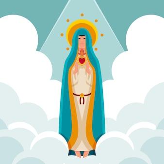 Flache annahme von maria illustration