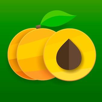 Flache aprikosen im schnitt und ganz mit blättern.