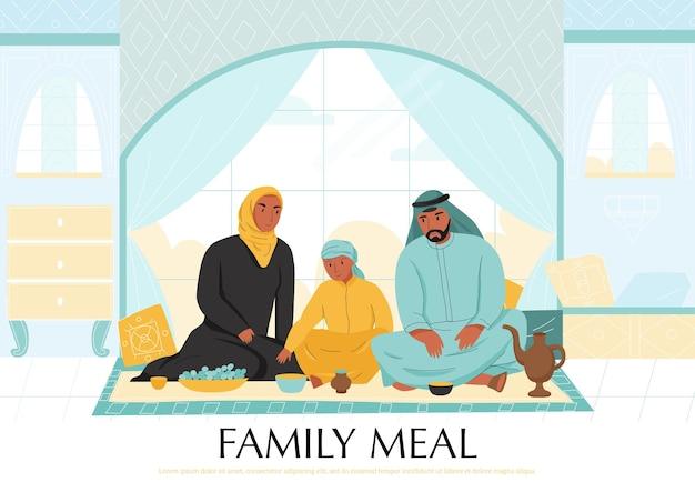 Flache arabische familienmahlzeitillustration
