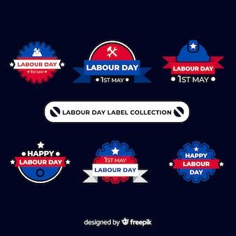 Flache arbeitstag-etikettensammlung