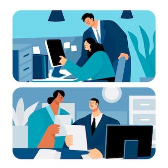 Flache arbeitstagszene mit verschiedenen geschäftsleuten