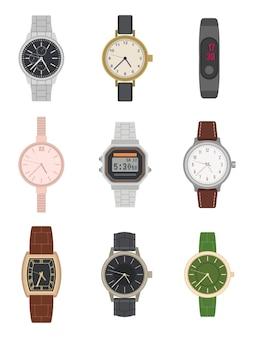 Flache armbanduhr. verschiedene klassische und moderne herren- und damenuhren