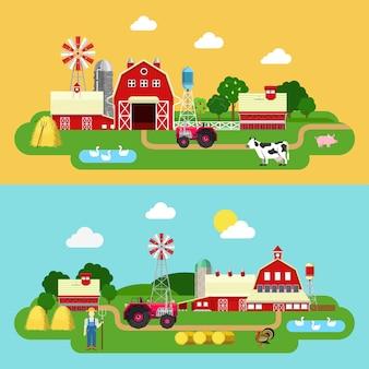 Flache art bauernhof gebäude grüne pflanzen territorium leben im freien banner set. traktor kuh gans bauer kuhstall stall stall. landwirtschaft landwirtschaft konzepte sammlung.