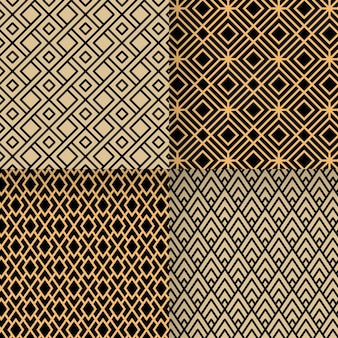 Flache art-deco-muster-designkollektion