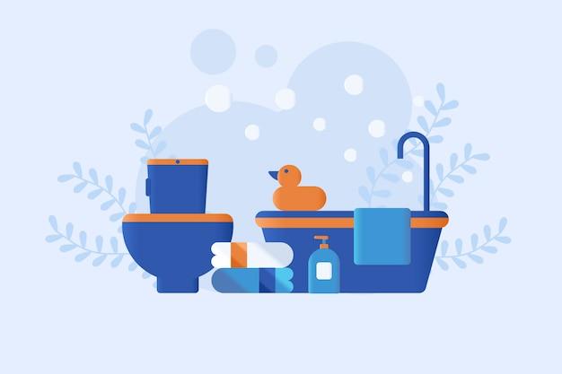 Flache art der badezimmerillustration