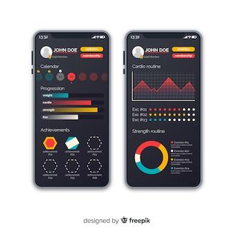 Flache art der beweglichen schablone app der eignung infographic