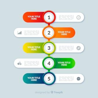 Flache art der bunten infographic schrittschablone