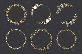 Flache Art der goldenen Weihnachtskranzrahmen-Sammlung