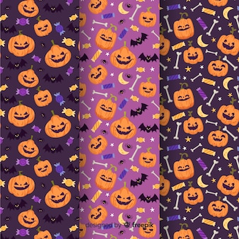 Flache art der halloween-mustersammlung