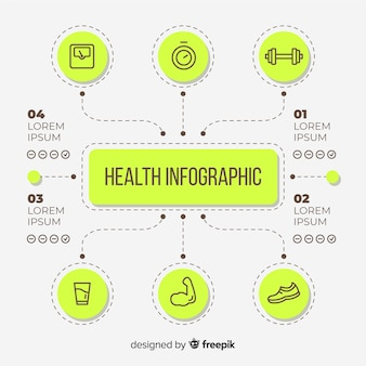 Flache art der infographic schablone der gesundheit