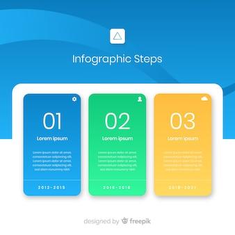 Flache art der infographic-schrittschablone