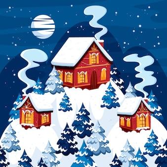 Flache art der snowy-weihnachtsstadt