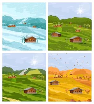 Flache art der verschiedenen jahreszeiten der landschaft