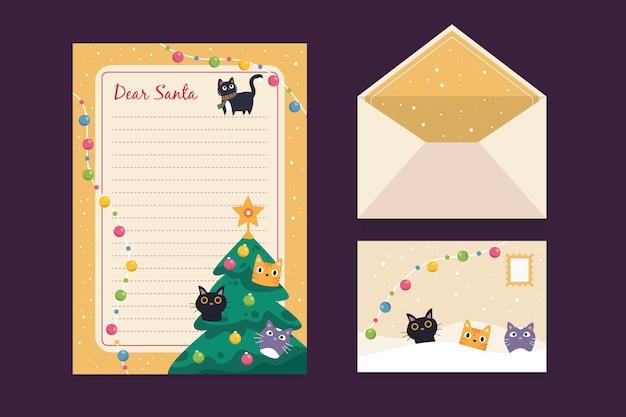 Flache art der weihnachtsbriefpapierschablone