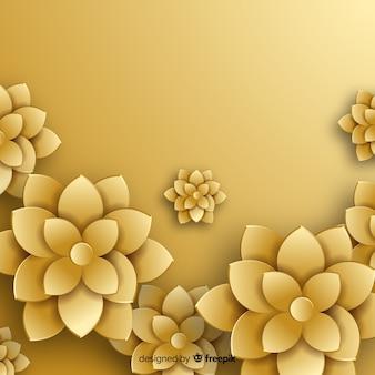 Flache art des goldenen blumenhintergrundes