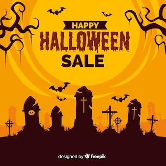 Flache art des halloween-verkaufshintergrundes