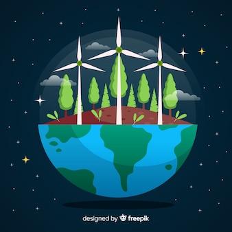 Flache art des ökologiekonzept-hintergrundes