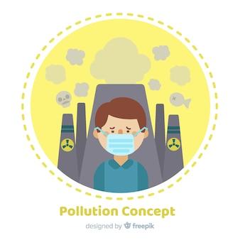 Flache art des verschmutzungskonzept-hintergrundes