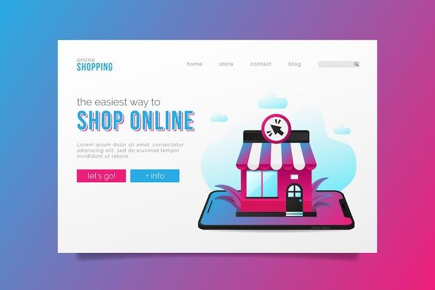Flache art einkaufen online-landingpage