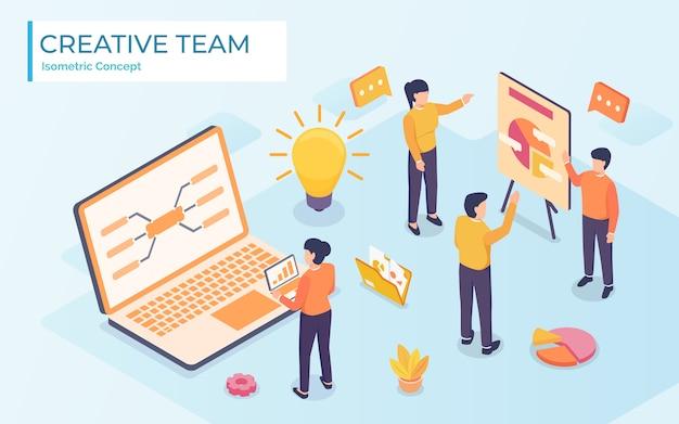 Flache art idee brainstorming kreative team konzept web info grafik illustration. kreative personensammlung.