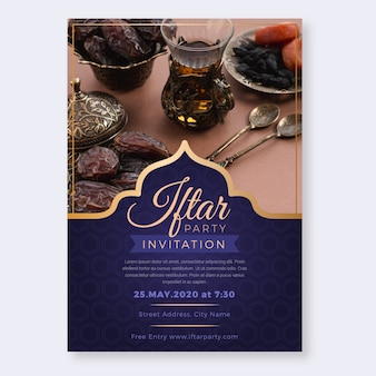 Flache art iftar einladungsschablone