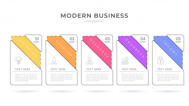 Flache art infografik design organigramm prozessvorlage mit bearbeitbarem text