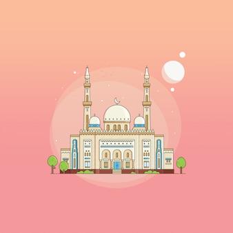 Flache art jumeirah-großartige moschee uae auf steigungshintergrund