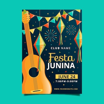 Flache art juni festival flyer vorlage