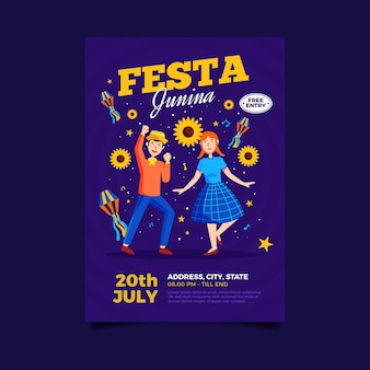 Flache art juni festival poster vorlage