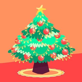 Flache art mit nettem weihnachtsbaum zuhause